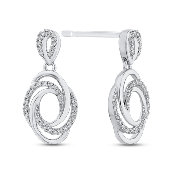 10K White Gold 1/3 ct Round Diamond Swirl Fashion Earrings