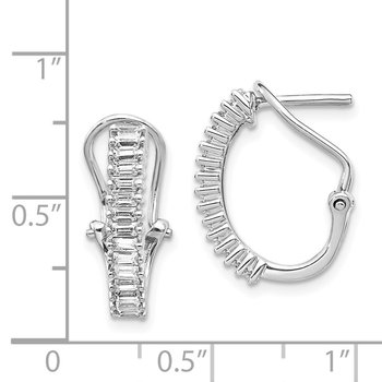 14k White Gold Baguette Diamond Omega Back Hoop Earrings