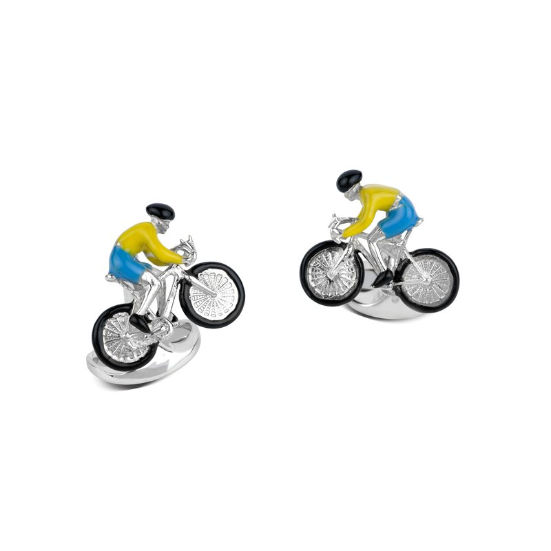 Deakin & Francis Sterling Silver Bike and Rider Cufflinks in Yellow and Blue
