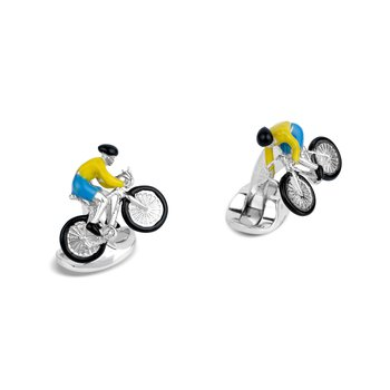 Sterling Silver Bike and Rider Cufflinks in Yellow and Blue