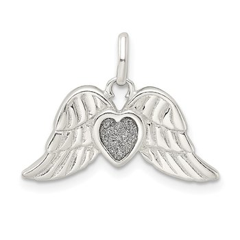 Sterling Silver Polished Enamel Glitter Fabric Heart w/Wings Pendant