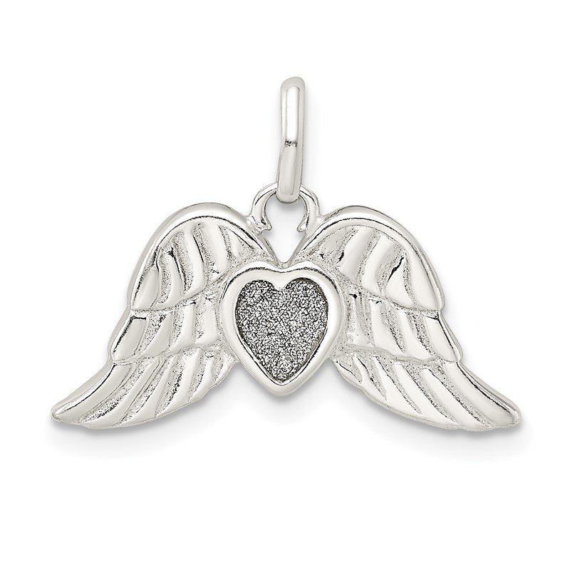 Quality Gold Sterling Silver Polished Enamel Glitter Fabric Heart w/Wings Pendant