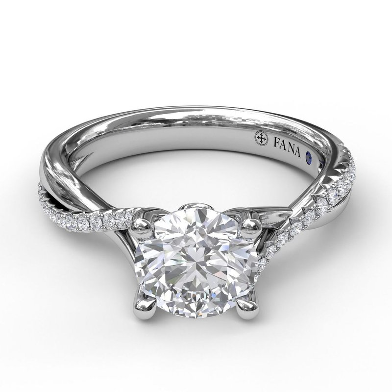 Fana Alternating Diamond Twist Engagement Ring