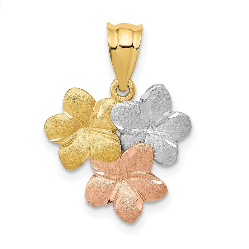 Quality Gold 14k Tri-Color Flower Pendant