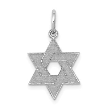 14K White Gold Laser Designed Star of David Charm