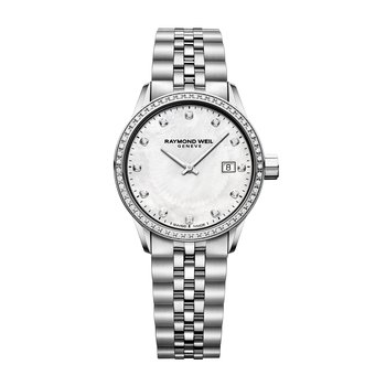 Date, 29mm steel on steel, white mother-of-pearl dial, 67 diamonds