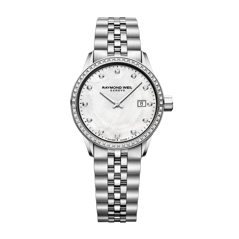 Raymond Weil Date, 29mm steel on steel, white mother-of-pearl dial, 67 diamonds