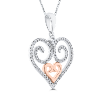 Round Cut Diamond Heart Pendant