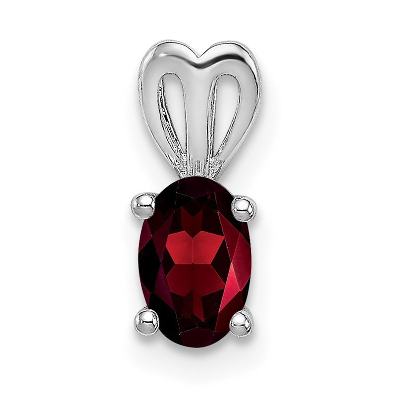 Quality Gold Sterling Silver Rhodium-plated Garnet Pendant