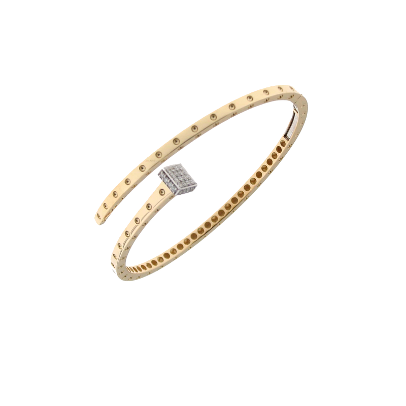 Roberto Coin 18Kt Gold Chiodo Bangle With Diamonds