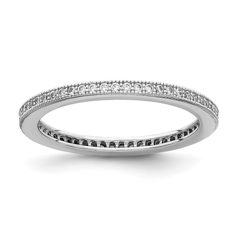 Quality Gold Sterling Silver Rhodium-plated Polished CZ Eternity Band