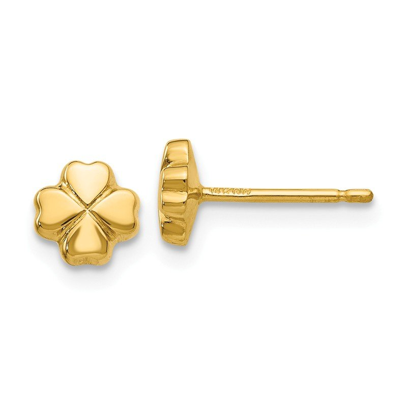 Quality Gold 14k Polished 4-Leaf Clover Post Ear