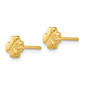 14k Polished 4-Leaf Clover Post Ear