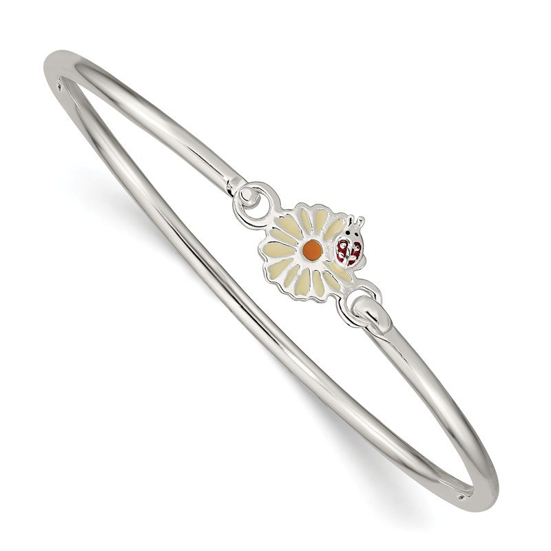 Quality Gold Sterling Silver Enamel Flower Kid's Bangle Bracelet