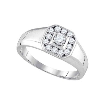 14kt White Gold Mens Round Diamond Cluster Ring 1/2 Cttw