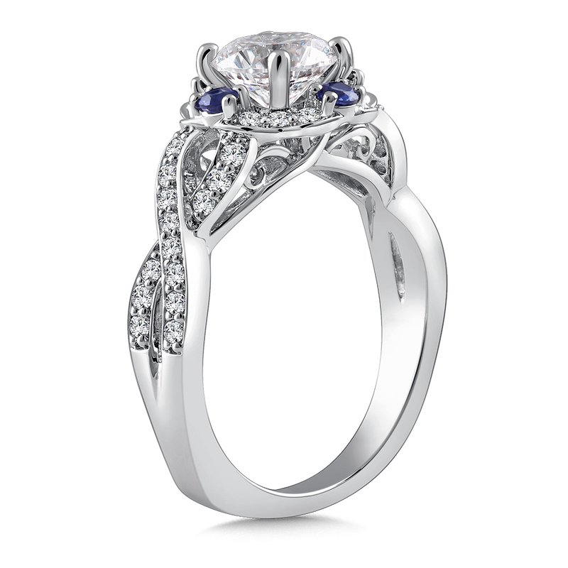 Caro74 Diamond & Blue Sapphire Engagement Ring Mounting in 14K White Gold with Platinum Head (.38 ct. tw.)