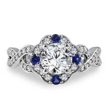 Diamond & Blue Sapphire Engagement Ring Mounting in 14K White Gold with Platinum Head (.38 ct. tw.)