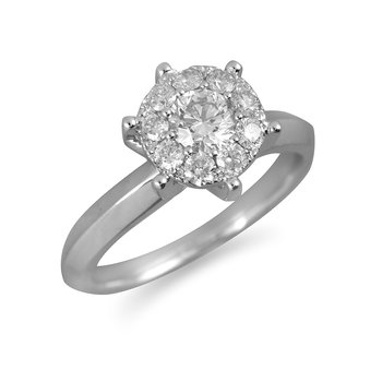 14K WG Diamond Cluster Galaxy Ring 2.5 Ct Look