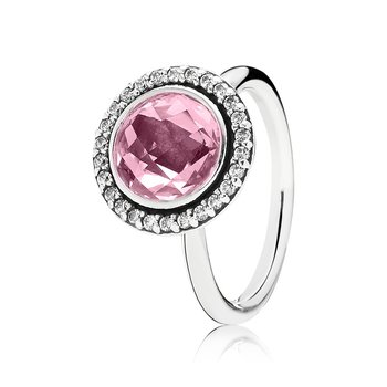 Silver ring with clear and pink cubic zirconia