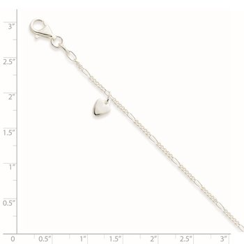 Sterling Silver Heart Dangle Anklet