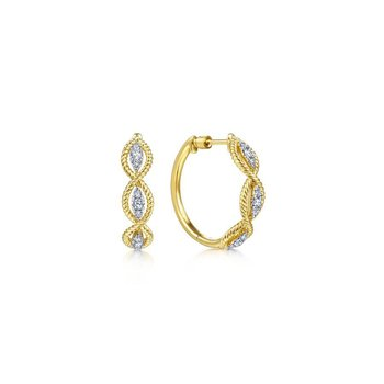 14K Yellow Gold Twisted Layered 20mm Diamond Hoop Earrings