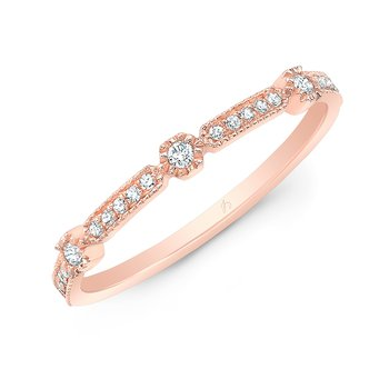 Rose Gold Milgrain Stackable Band