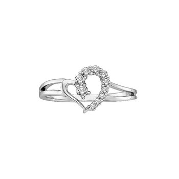 14kt White Gold Womens Round Diamond Split-shank Simple Heart Ring 1/5 Cttw