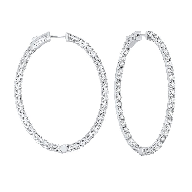 Gems One Delicate In-Out Diamond Hoop Earrings in 14K White Gold  (5 ct. tw.) SI3 - G/H