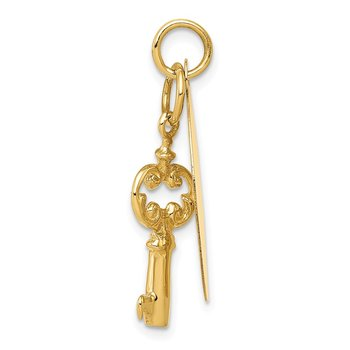 14K Polished Engraveable Disc and Key Charm