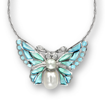 Sterling Silver Butterfly Necklace-Blue. Diamonds and Pearls