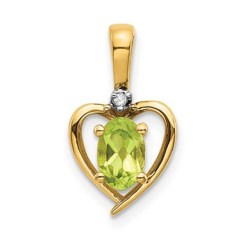 14k Peridot and Diamond Heart Pendant