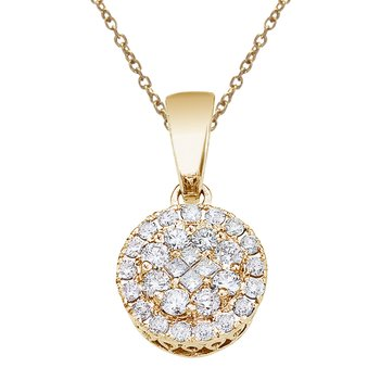 14K Yellow Gold .50 Ct Diamond Clustaire Pendant