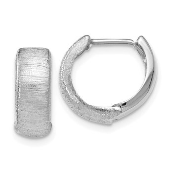 Leslie's 14k White Gold Polished & Textured Hinged Hoop Earrings