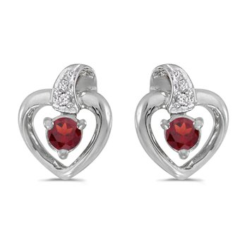 10k White Gold Round Garnet And Diamond Heart Earrings