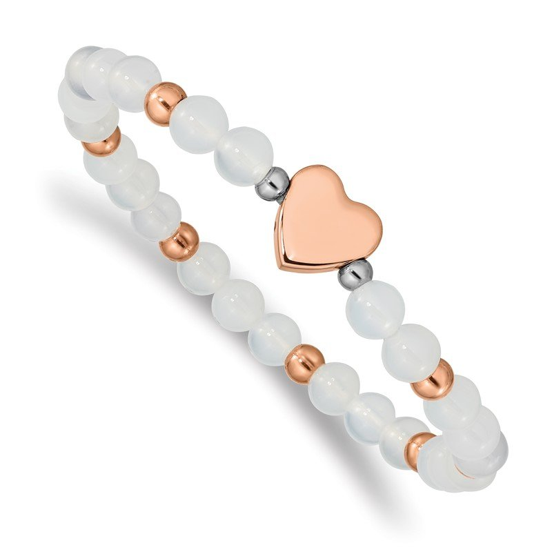 Chisel Stainless Steel Polished Rose IP-plated Heart White Agate Stretch Bracelet