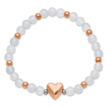 Stainless Steel Polished Rose IP-plated Heart White Agate Stretch Bracelet