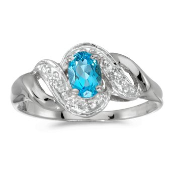 10k White Gold Oval Blue Topaz And Diamond Swirl Ring