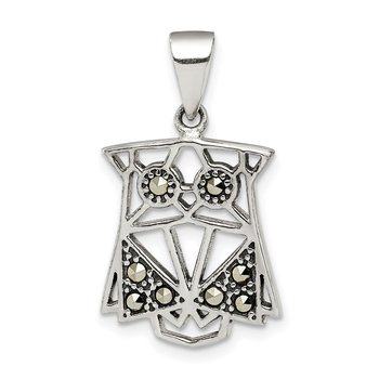 Sterling Silver Antiqued Marcasite Owl Pendant