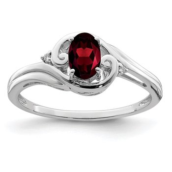 Sterling Silver Rhodium Plated Diamond & Garnet Ring