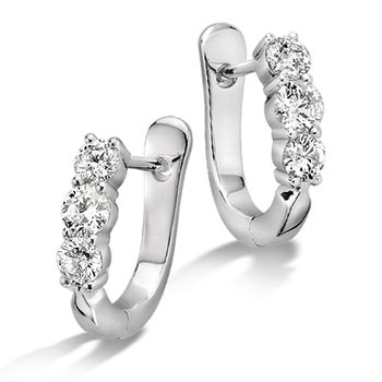 Prong Set set Diamond Hoop Earrings in 14k White Gold (1 ct. tw.) HI/I1