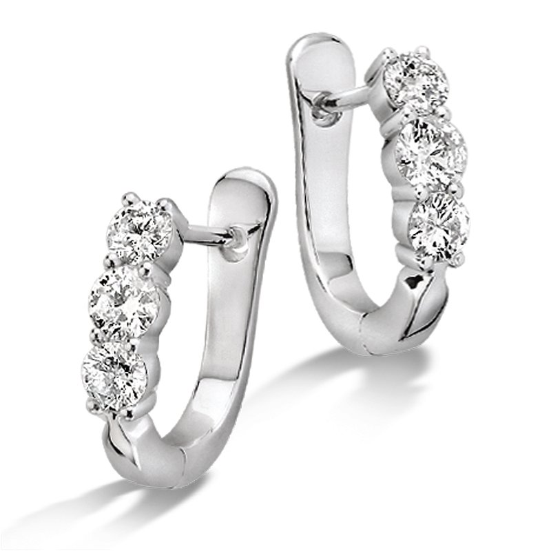 SDC Creations Prong Set set Diamond Hoop Earrings in 14k White Gold (1 ct. tw.) HI/I1