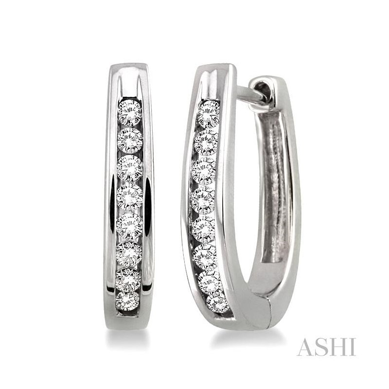 ASHI silver diamond earrings