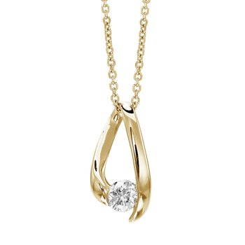 14k Yellow Gold Diamond Teardrop Pendant (.25 carat)