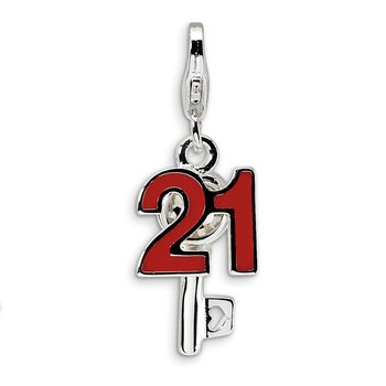 Sterling Silver RH 3-D Enameled 21 and Key w/Lobster Clasp Charm