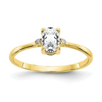 10k Polished Geniune Diamond & White Topaz Birthstone Ring