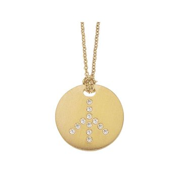 18Kt Gold Medallion Peace Sign Pendant With Diamonds