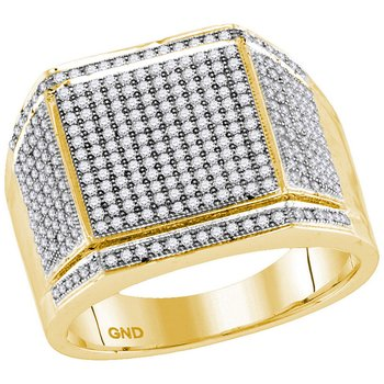 10kt Yellow Gold Mens Round Diamond Edged Square Cluster Ring 7/8 Cttw