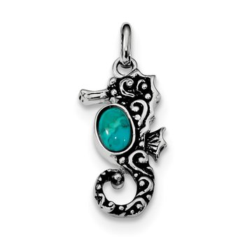 Sterling Silver Rhodium/Oxidized Recon. Turquoise Seahorse Pendant