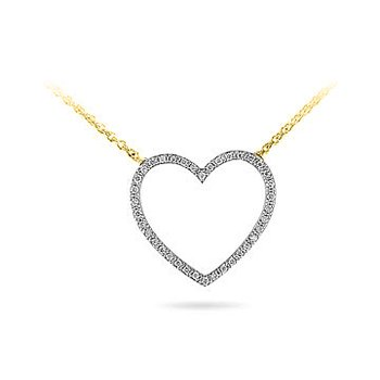 "14K YG Diamond Heart Pendant with 17"" Cable Chain"