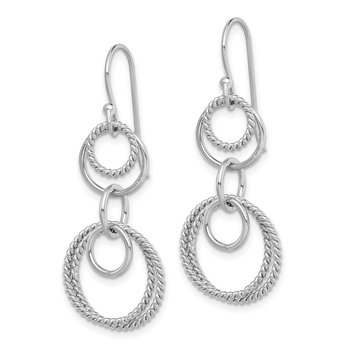 Sterling Silver Rhodium-plated Circle Dangle Earring